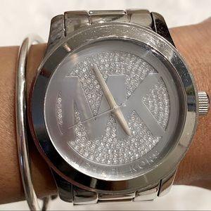 Michael Kors Watch Rhinestone Silver Oversized